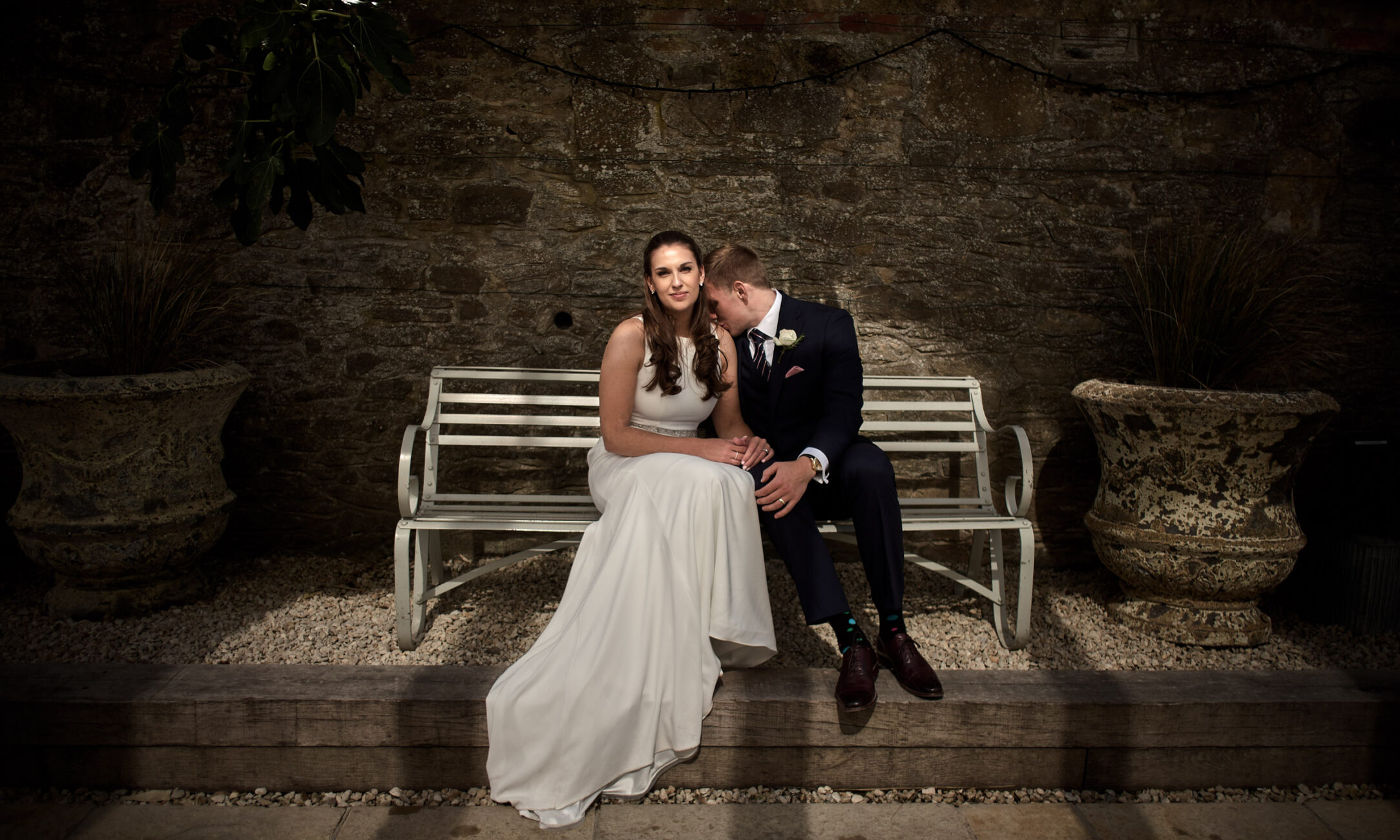 Portrait-of-Bride-and-Groom-at-Gate-Street-Barn-in-Surrey