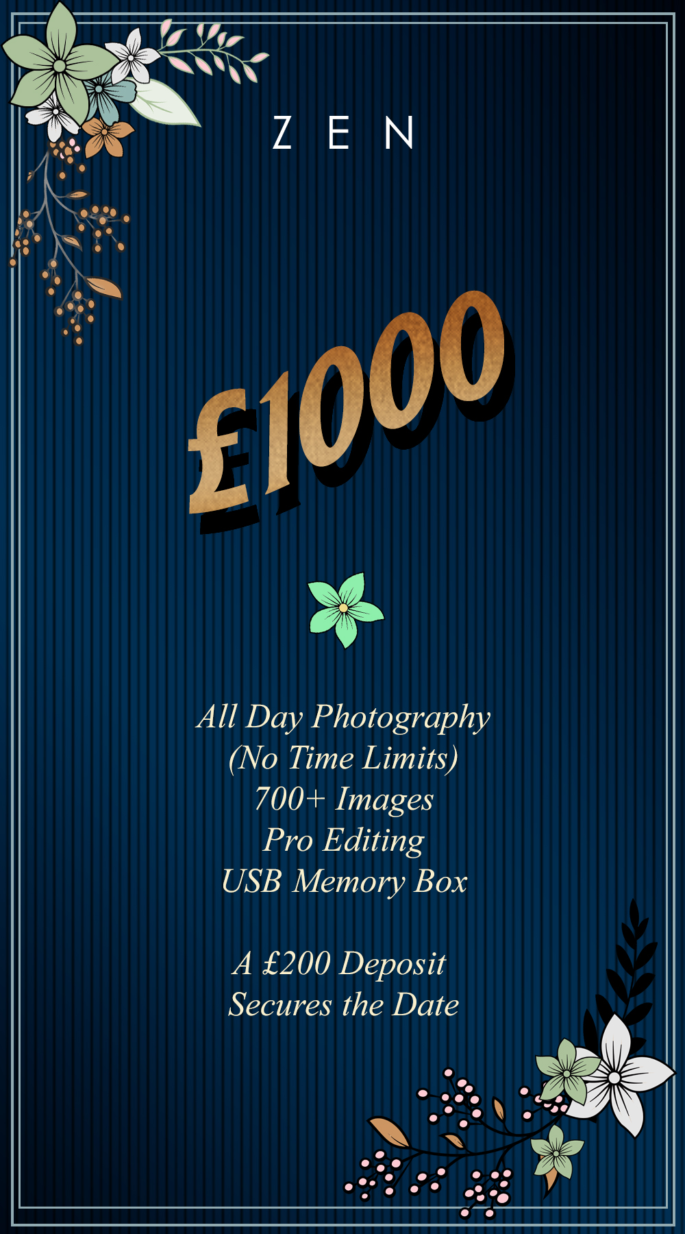 Showing the prices for Wedding Photography in Surrey